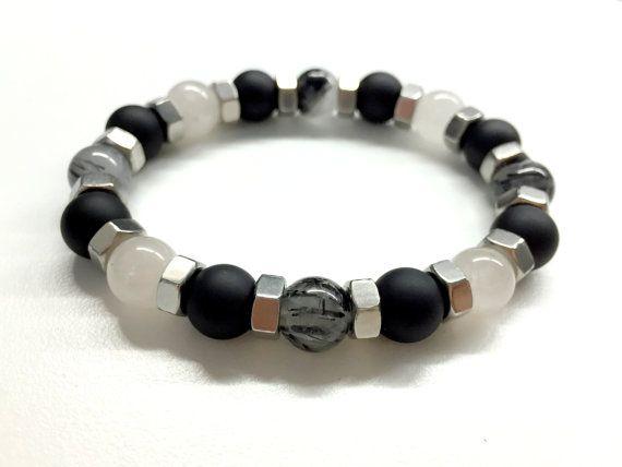 Men's Bead Bracelet. Hex Nut Bracelet. Black Onyx by pearlatplay