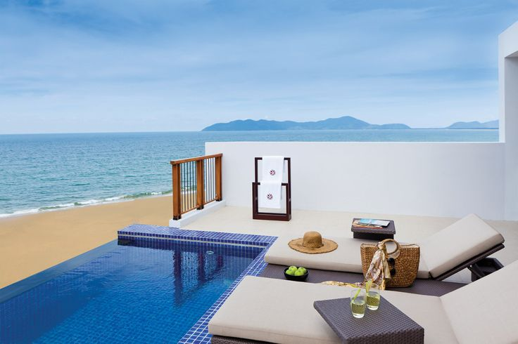 Two bedroom loft terrace and lounge with private pool at The Angsana Lang Co in Vietnam