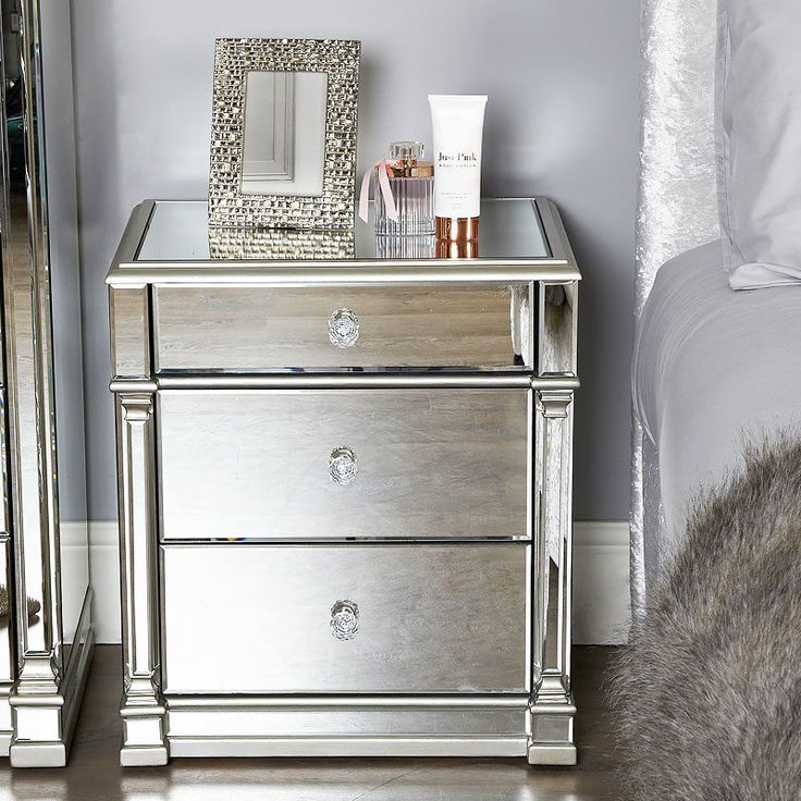 Best Athens Silver Mirrored 3 Drawer Chest Bedside Cabinet 400 x 300