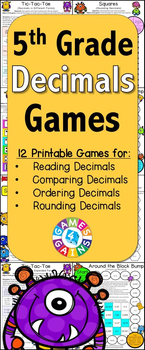 Decimals Games for 5th Grade contains 13 fun and engaging printable board games to help students to practice Common Core decimals standards. These games are so simple to use and require very minimal prep. They are perfect to use in math centers or as extension activities when students complete their work!  https://www.teacherspayteachers.com/Product/Decimals-1986618