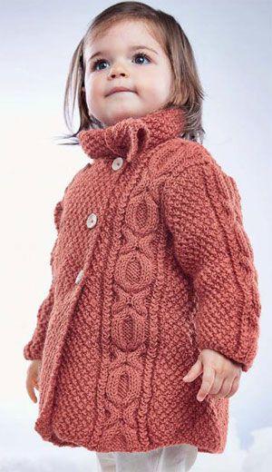 Little girl's Cable Coat FREE knitting pattern  (2/4) (hva)