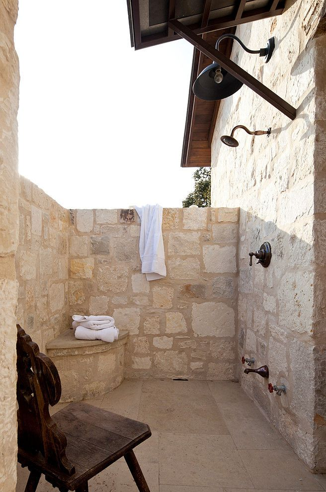 Who DOESN'T want to shower outside, right? ~ Frio Family Retreat by Shiflet Group Architects