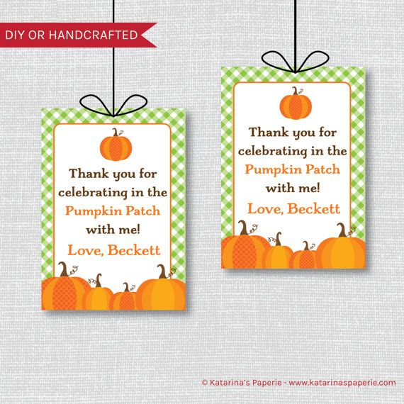 Green and Orange Pumpkin Birthday Party Favor Tags Pumpkin