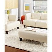 Alessia Leather Sofa Living Room Furniture Collection would need a lot of bright pillows...
