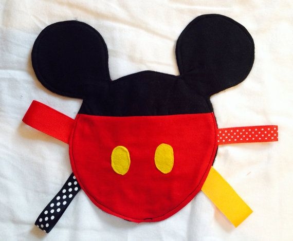 Mickey Mouse taggie sensory blanket by KiddOooosKreations on Etsy, $16.00