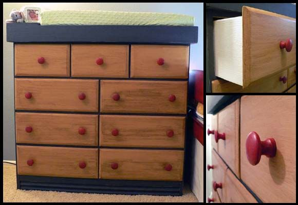 changing table dresser in distressed primary colors