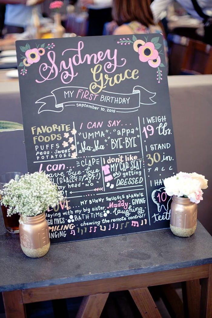 First Birthday Board from a Pink + Gold Bohemian Dohl Birthday Party via Kara's Party Ideas | KarasPartyIdeas.com (25)