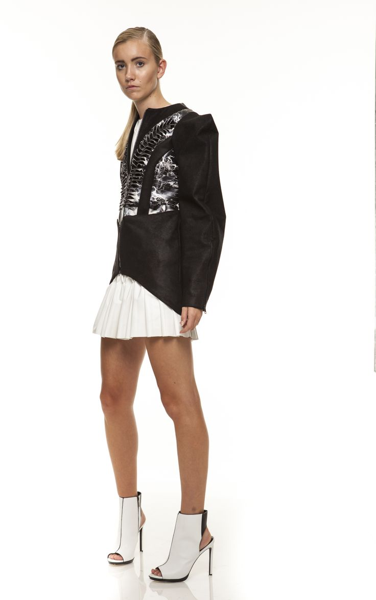 surasit liphan #leather print cut out jacket