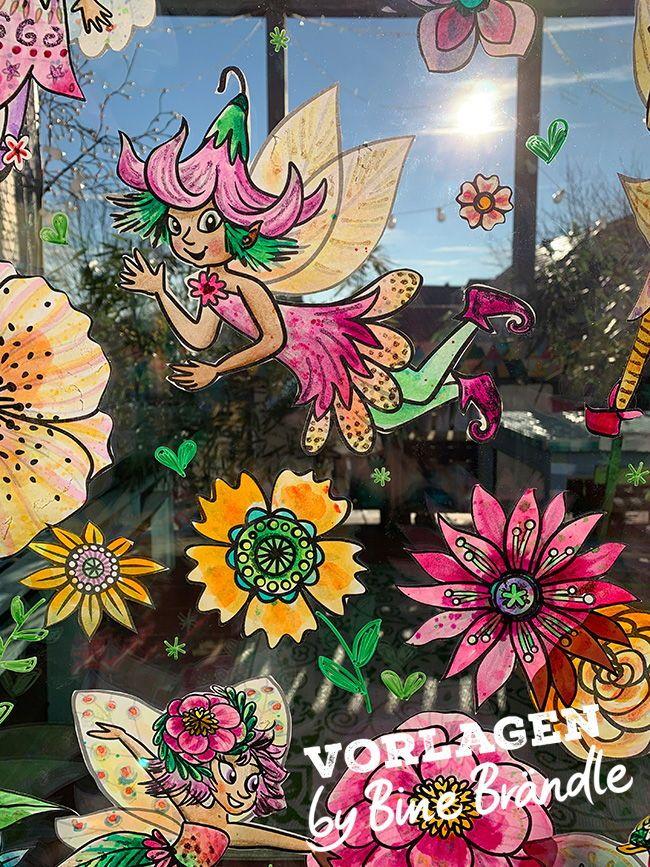 Zauberhafte Feen Elfen Und Bluten Zum Selber Basteln Und Bemalen Begrusse Den Fruhling Mit Diesen Zauberhaften Feen Und El Fensterfarbe Idee Farbe Blumenregen