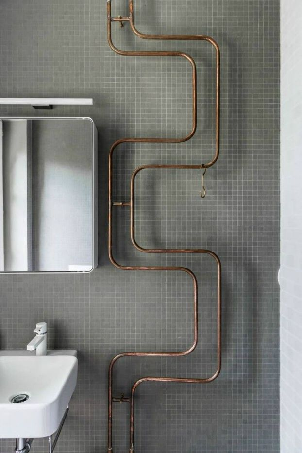 Vintage Industrial bathroom design  4 - pipe as art