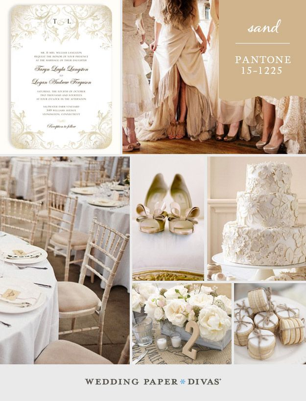 With this week's color, Pantone Sand, comes neutral elegance. Whether you use it as your main color, or to temper bolder, brighter hues, this beige tone will add a sophisticated touch to your wedding.