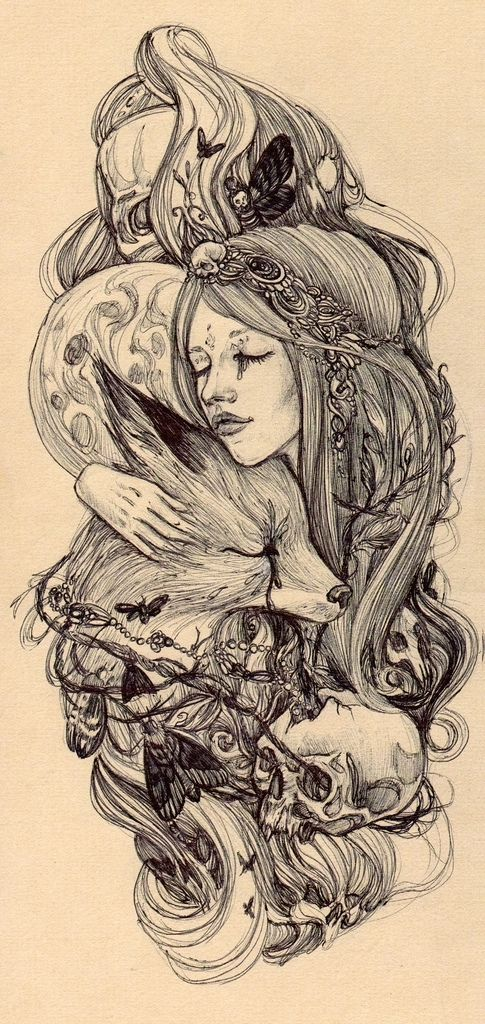 This would be a wicked sleeve --- mother earth, fox, moon, skulls/death