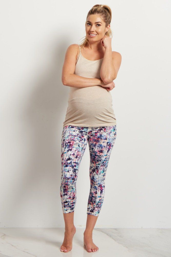 White Multi-Color Cropped Maternity Workout Pants