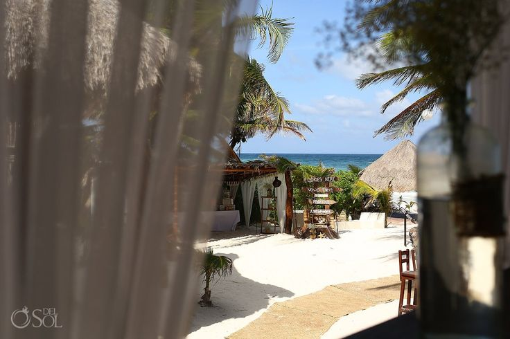 Rustic but chic wedding venue, the Akiin Beach Club in Tulum. They do a terrific job putting together destination weddings! Mexico wedding photographers Del Sol Photography.