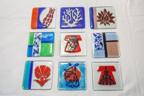 A variety of hand-made Fused Glass and painted by AtelierThalia