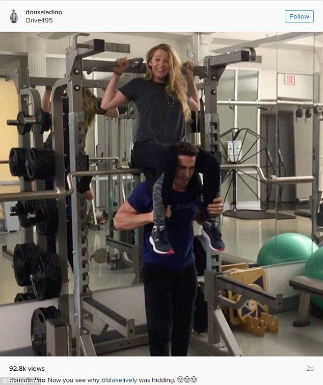 Raise the roof! Blake is back to the gym after giving birth to her second child with hubby Ryan Reynolds this September