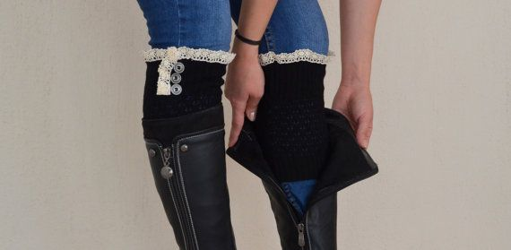 "PLUS SİZE Fit for 16-18"" calves Black knit lace boot cuffs-Boho boot socks-Lace cuffs-Shoe Accessory-Lace boot toppers-Plus size boot cuffs"