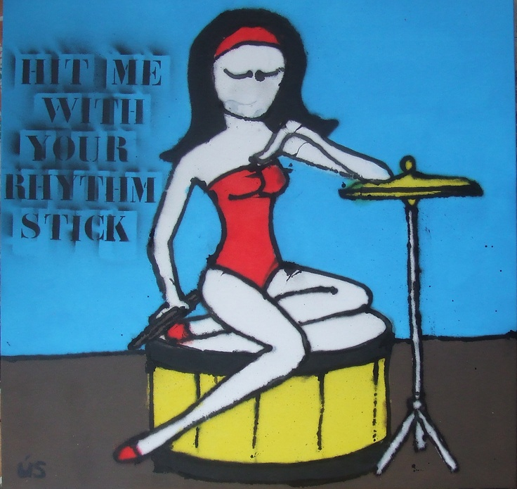 """""""Hit me with your rhythm stick"""" Painting by ÚS www.madeby-us.nl"""