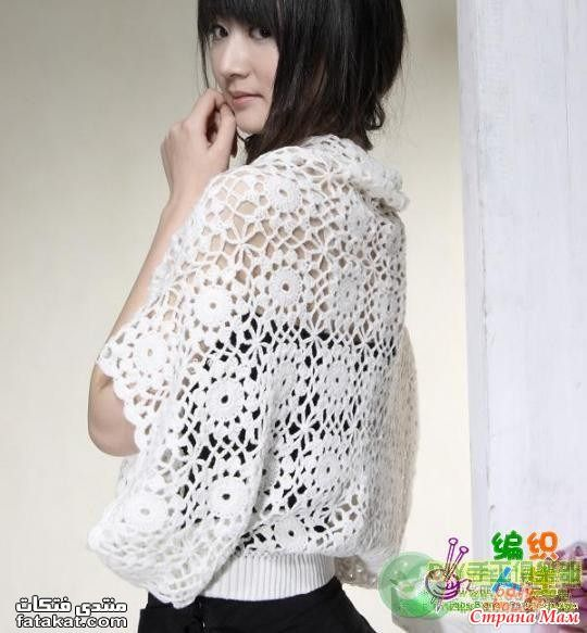 squares joined to wide-sleeve rectangle poncho