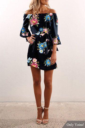 Black Off Shoulder Random Floral Print Dress - US$13.19 -YOINS