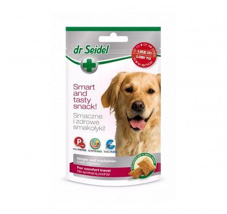 """dr Seidel Smakołyki dla psów na spokojną podróż. Smakołyki dla psów polecane przed i w czasie podróży, aby zmniejszyć ryzyko złego samopoczucia i uspokoić zwierzę. Wzbogacone o imbir i tryptofan, które zwiększają komfort podróżowania psa i jego właściciela. Imbir łagodzący mdłości i zapobiegający wymiotom. Tryptofan - prekursor serotoniny (""""hormon szczęścia"""") zmniejszający napięcie mięśniowe i podatność na stres."""