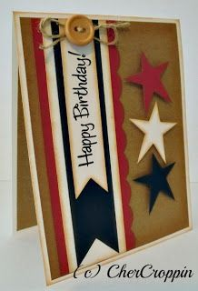 A great way to celebrate America's birthday, or someone special to you. This handmade birthday card has a nice combination of stars and stripes.