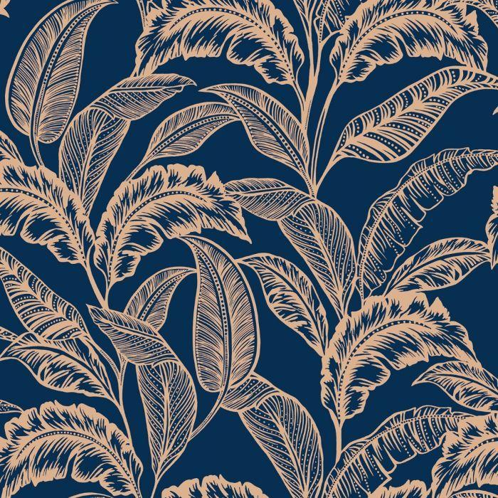 Vivienne Leaf Wallpaper Navy Gold Blue Wallpaper Living Room Leaf Wallpaper Feature Wall Wallpaper