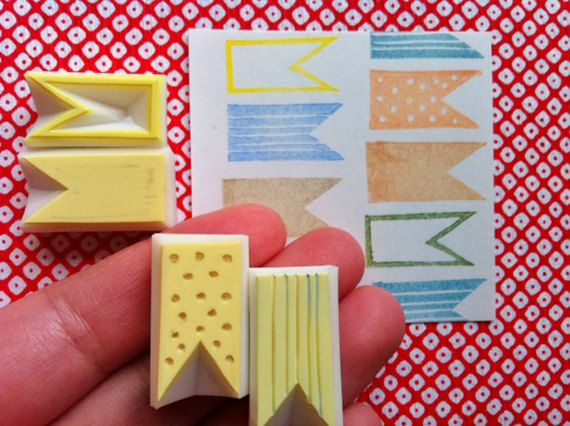 ribbon banner hand carved rubber stamp. handmade rubber stamp. set of 4.. $10,00, via Etsy.