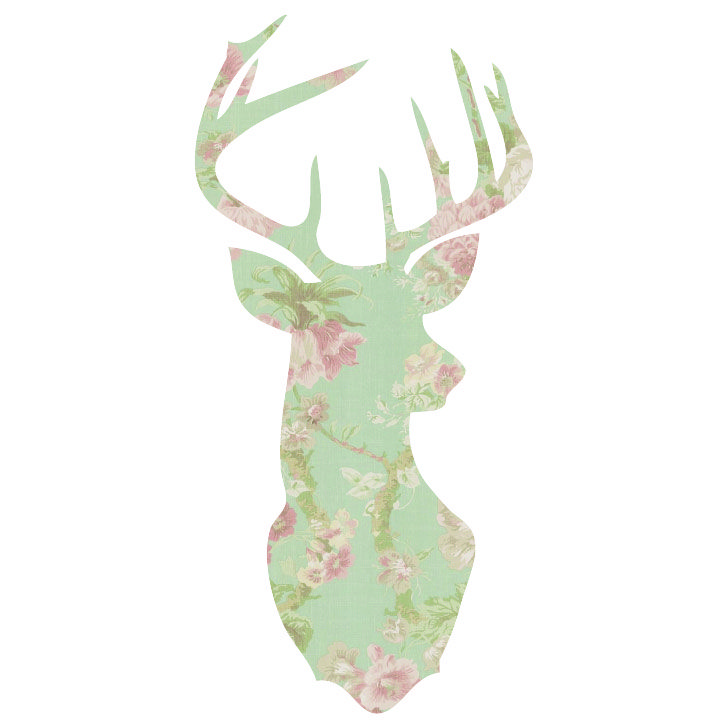 Fun with clip masks: Deer Head Silhouette + Floral