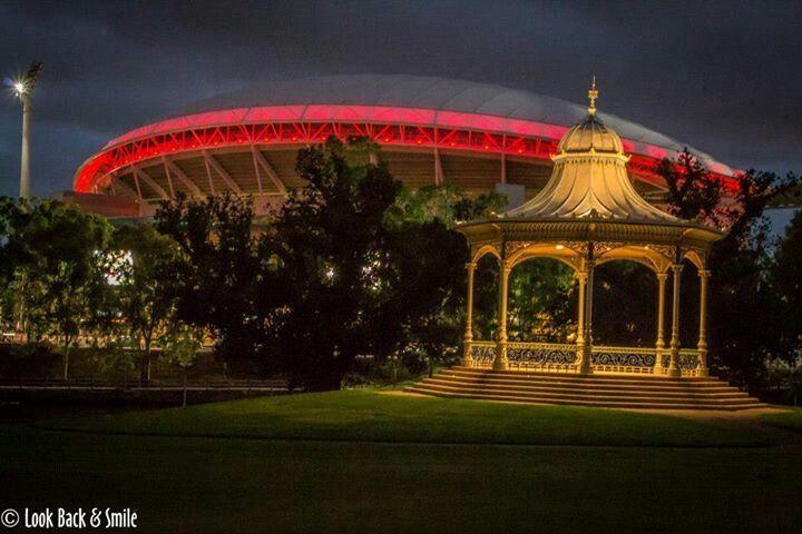 .Elder Park Rotunda... Adelaide Oval background.