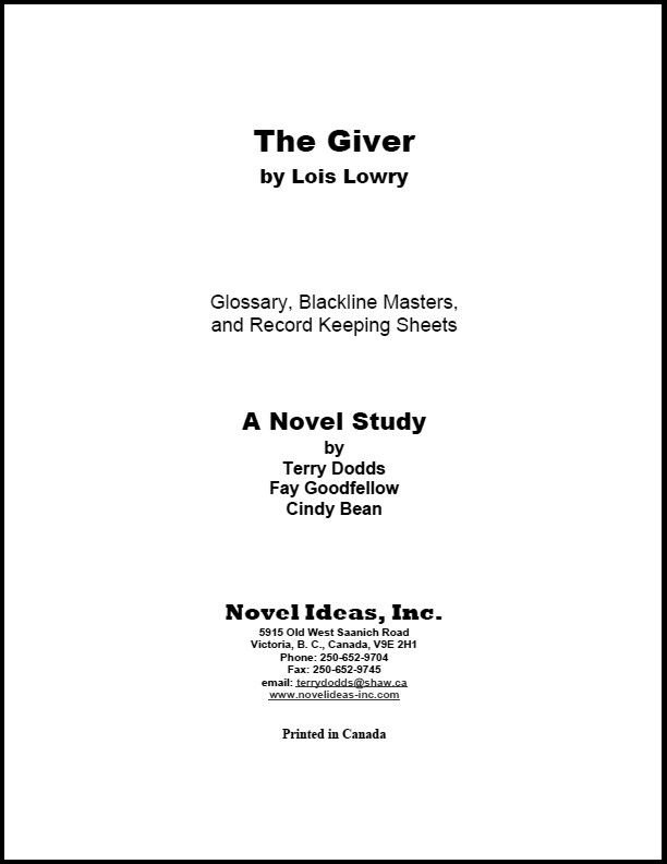 2057.09-BLMTG The Giver (by Lois Lowry) Blackline Masters*