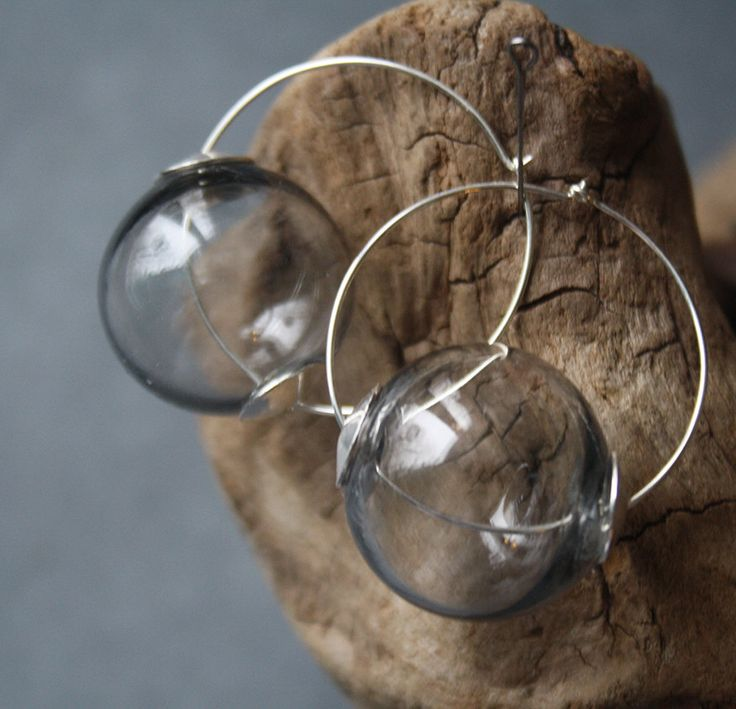 Grey Glass Blown Earrings - Transparent Earrings - Lightweight - Lampwork - Glass balls - balloons - cirlce - rings Silver accessories by LikeAGlassShop on Etsy