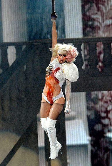 """ok, I know there are Gaga fans out there, but... I think Lady Gaga is overrated & annoying as all get out! This photo is from the 2009 VMAs where she had her bloody performance of """"Paparazzi"""". Ugh!"""
