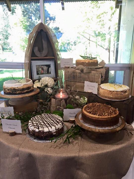 Variety of cheesecakes display for groom's cake by Les Amis Bake Shoppe / Baton Rouge, LA