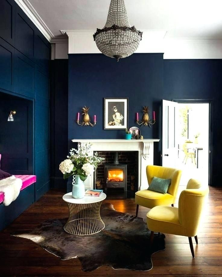 Best Living Room Paint Ideas Navy Blue Wall Painting Designs For