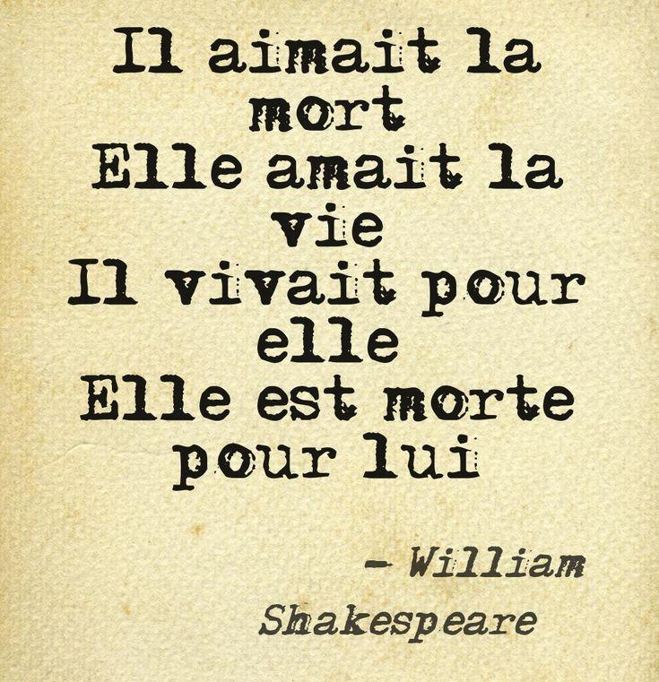 Il aimait la mort. Elle aimait la vie. Il vivait pour elle. Elle est morte pour lui. #amour #shakespeare