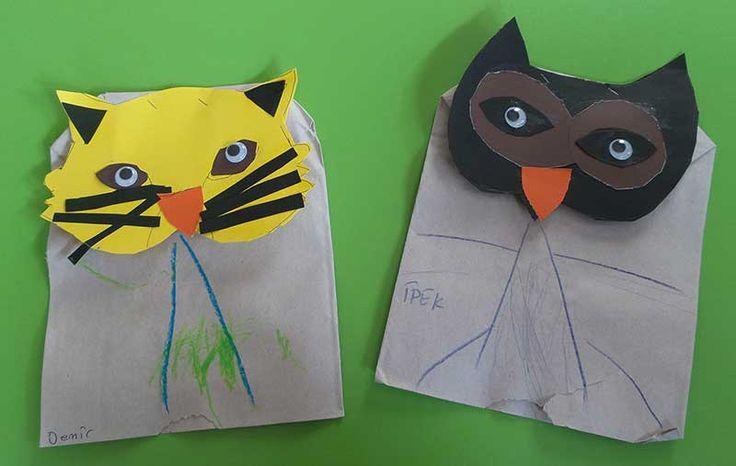 Okul öncesi etkinlik. Kesekağıdı ve karton kesme yapıştırma hayvan yapımı