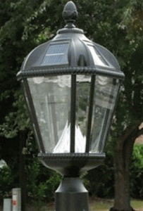 """Solar Powered Outdoor Lamp Post Light - Fits Existing 3"""" Post"""