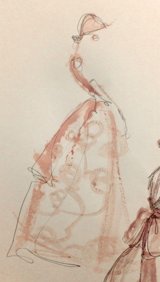 blush dress sketch | PAPER FASHION