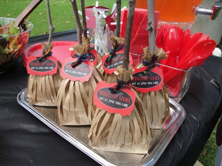 witchs broomstick party favors for halloween themed birthday party - Halloween Themed Birthday Party