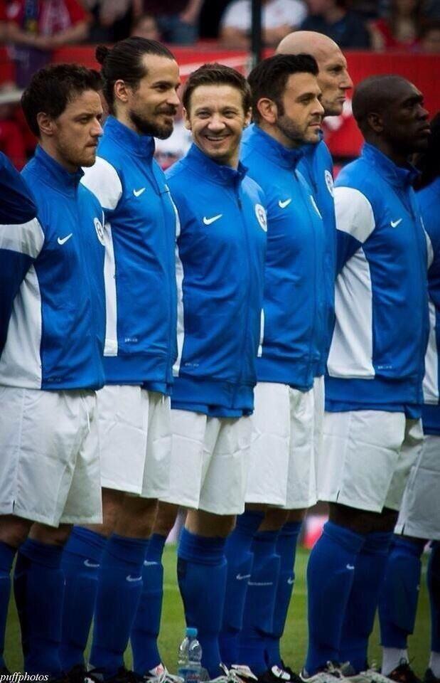 """James McAvoy, Santiago Cabrera, and Jeremy Renner at Soccer Aid 2014 (AKA """"the three reasons I was cheering for Rest of the World"""", all conveniently standing in a row) (And in 2017, I now realize that I have had the distinct honor of meeting a person in this picture. I am now two degrees of separation from meeting Santiago. Ha. Thank you, Jeremy Renner)"""
