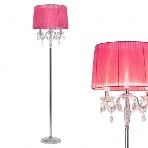 [lux.pro] Lámpara de pie (3 x E14)(165 cm x 45 cm) estructura de cromo + pantalla de tela rosa + cortina de cristal para dormitorio, salón - 56,80 €