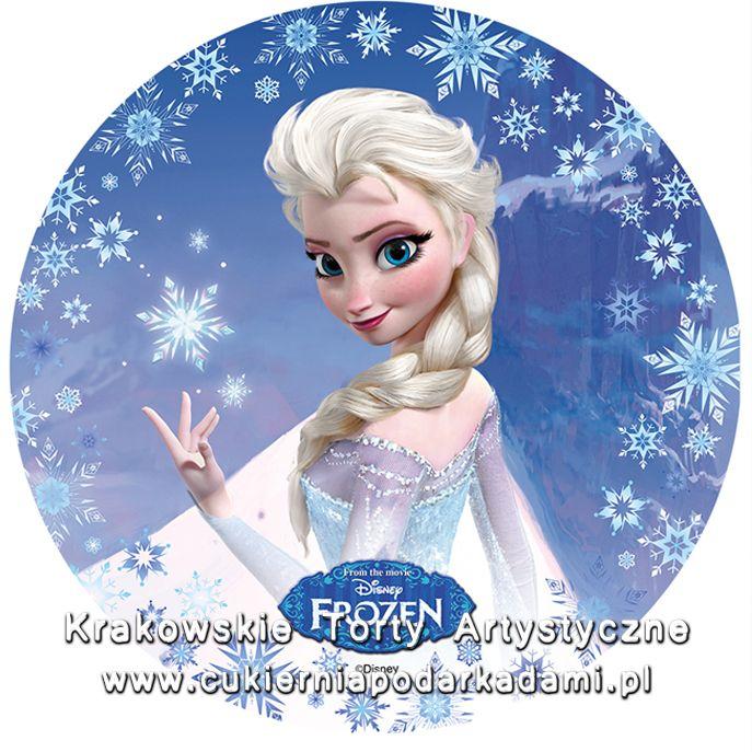 101. Fototort z Elsą z Krainy Lodu i śnieżynkami. Frozen photocake with Else and snowflakes.