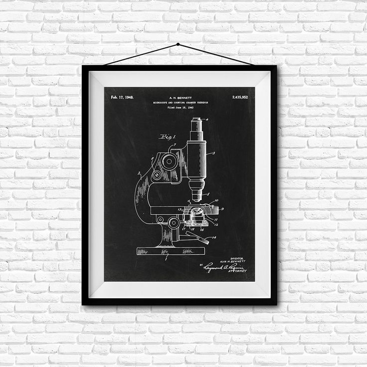 Microscope and Counting Chamber Therefor Patent Print- 1943 - Poster Wall art…