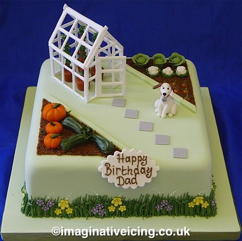 Gardening Birthday Cake with greenhouse with pumpkins, vegetable garden and dog.