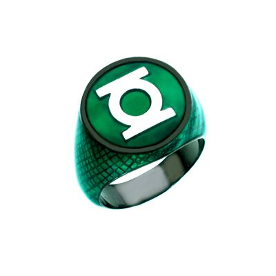 "Green Lantern Silver Ring Green Snake Skin Edition ""Beware my power Green Lanterns Might!"""