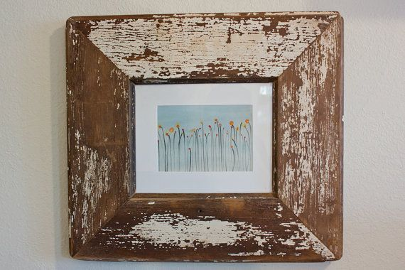 8x10 White Rustic Reclaimed Wood Picture Frame Made from an Old Door Watercolor by @Jennifer Martin foundpiece.com