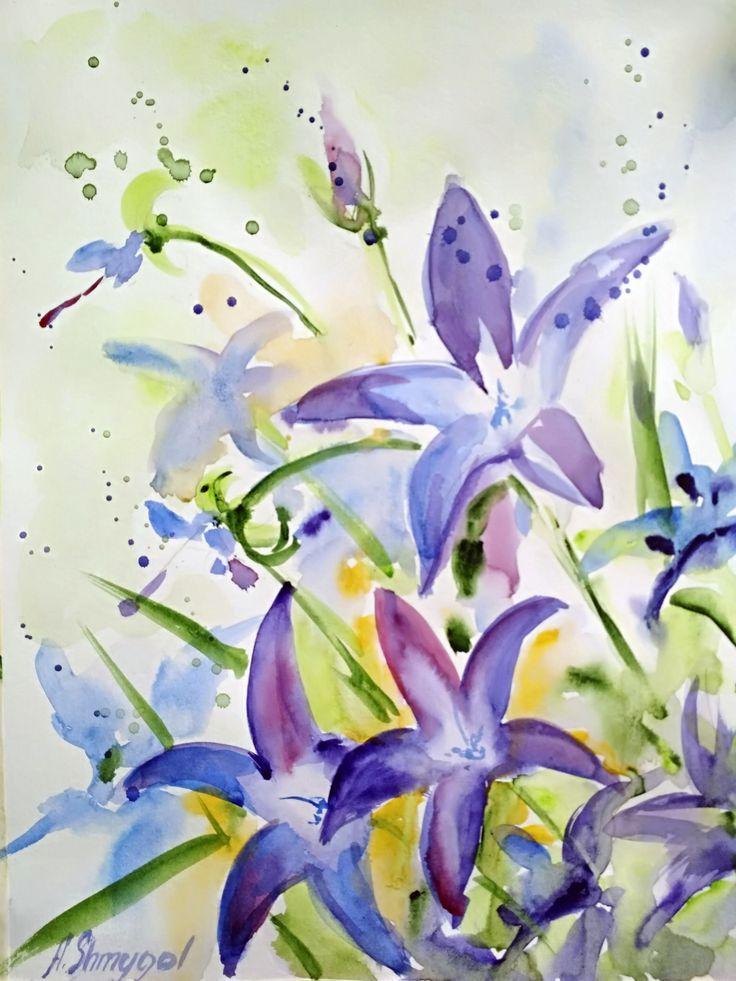 Watercolor flowers. Original watercolor painting. Blue flowers. field herbs