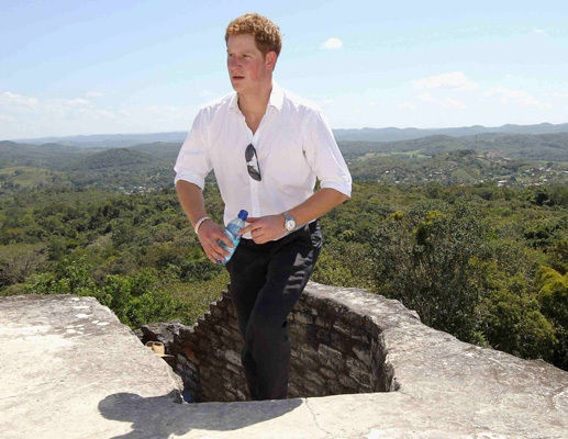 March 2012: Prince Harry visits Xunantunich Mayan Temple in Benque Viejo del Carmen, Belize - the neighbour mayan temple to where I once worked