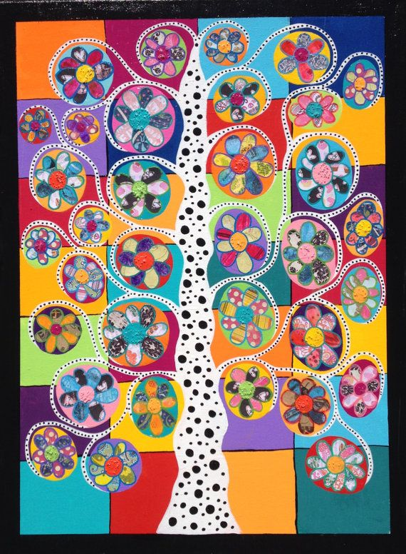 Kerri Ambrosino Original 18x24 Mexican Folk Art tree of Life Collage Hand Made Flowers